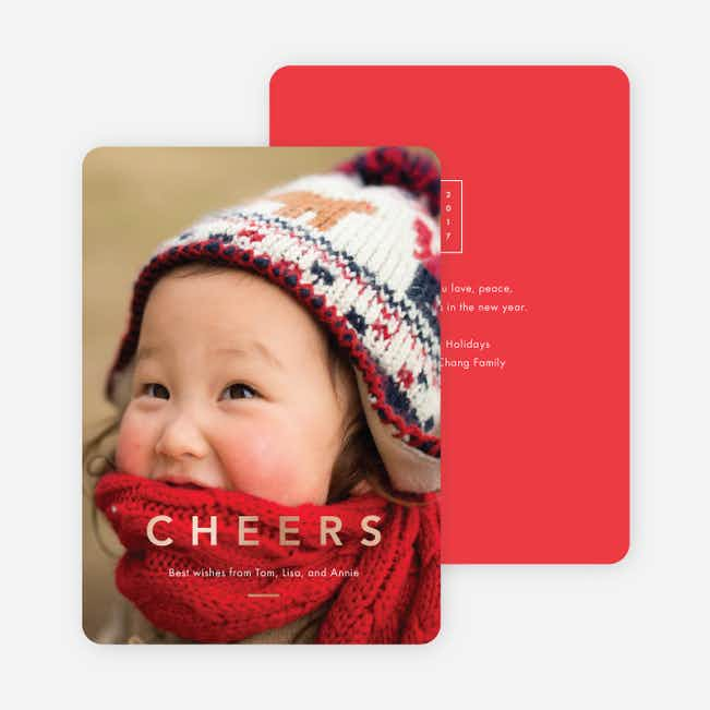 Foil Cheers Holiday Cards - Red