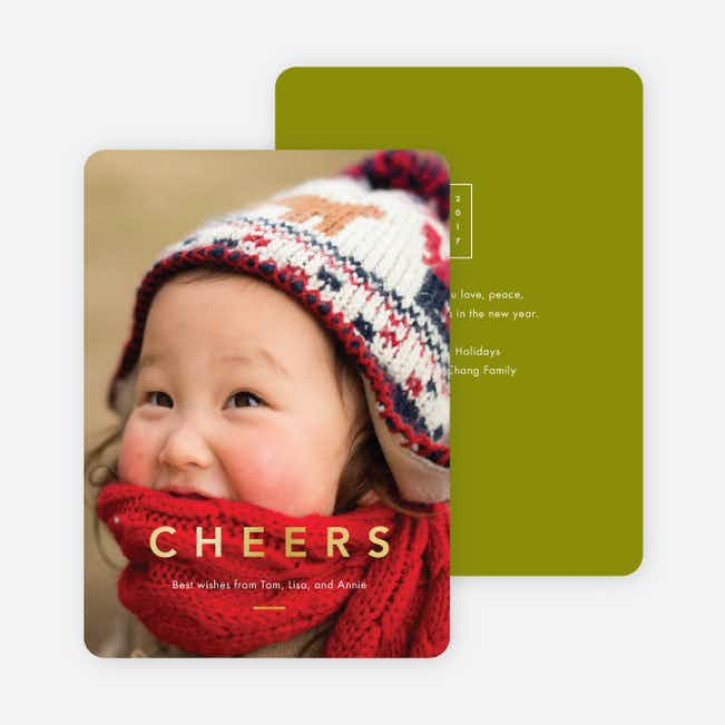 Foil Cheers Holiday Cards - Green