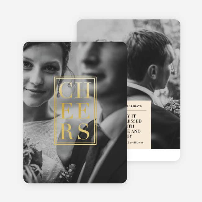 Foil Classic Cheers Holiday Cards - Yellow
