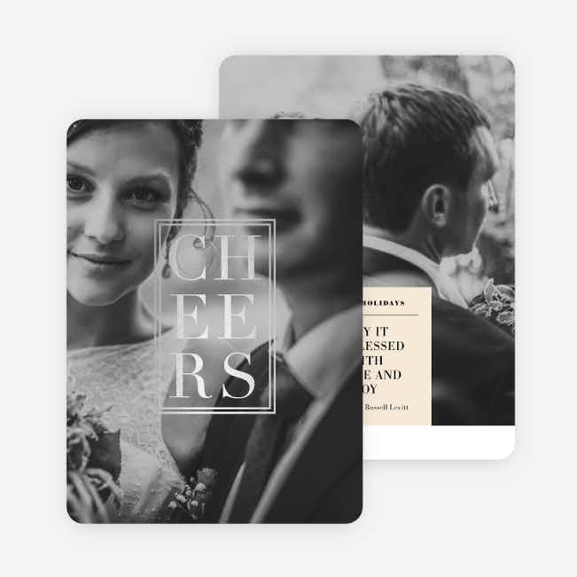 Foil Classic Cheers Holiday Cards - Gray