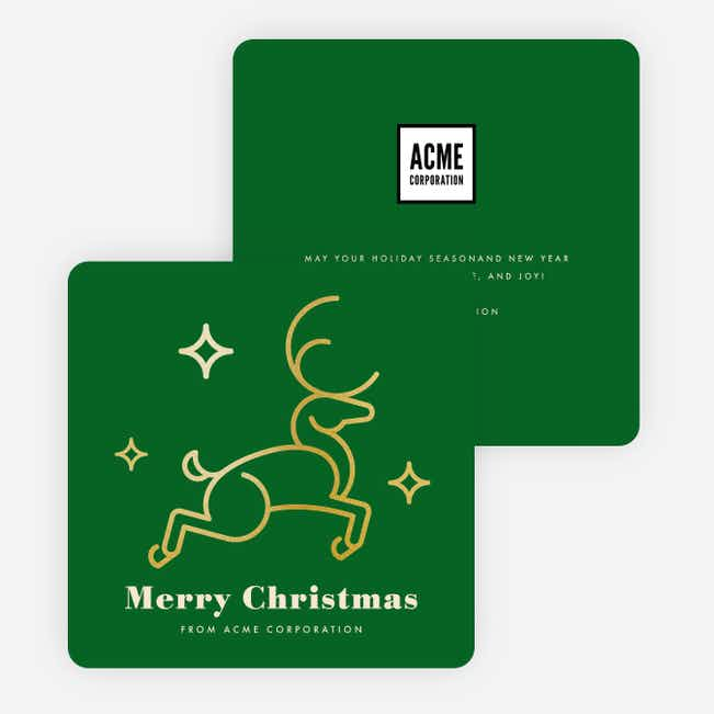 Foil Festive Deer Corporate Holiday Cards - Green