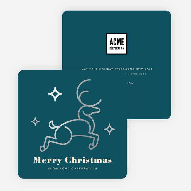 Foil Festive Deer Corporate Holiday Cards - Blue
