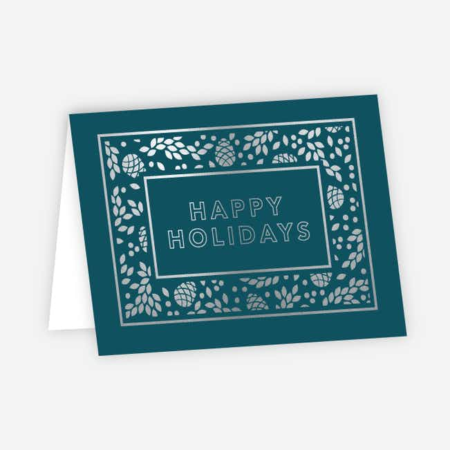 Foil Holiday Decor Corporate Holiday Cards - Blue