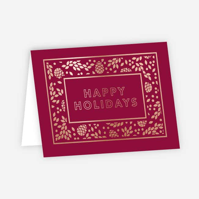 Foil Holiday Decor Corporate Holiday Cards - Red
