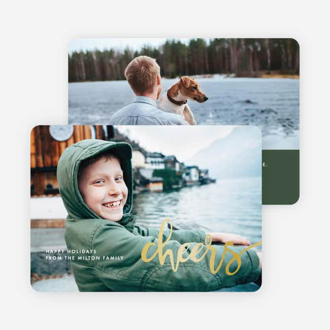 Foil Script Holiday Photo Cards - Green