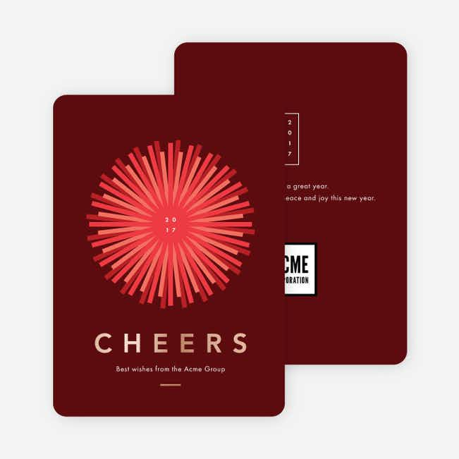 Foil Sunlight Corporate New Year Cards - Red