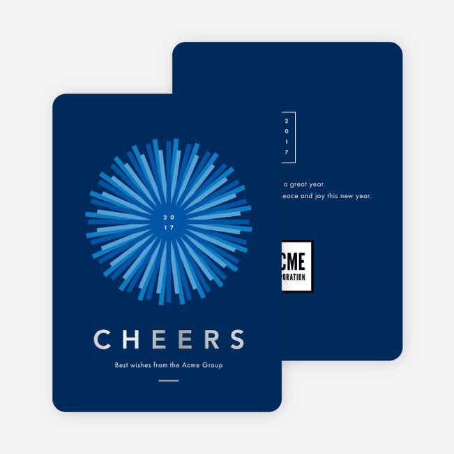 Foil Sunlight Corporate New Year Cards - Blue