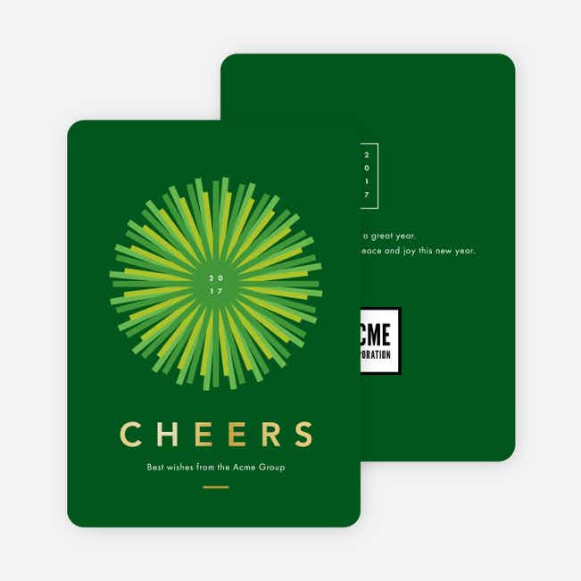 Foil Sunlight Corporate New Year Cards - Green