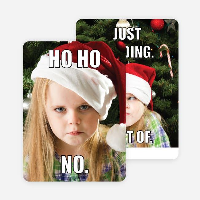 ho ho no main - No Photo Christmas Cards