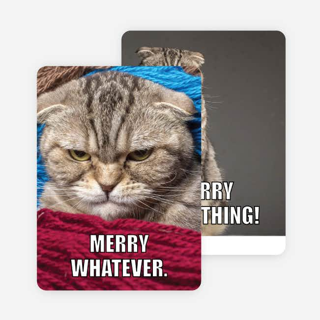 Merry Whatever Photo Holiday Cards - Black