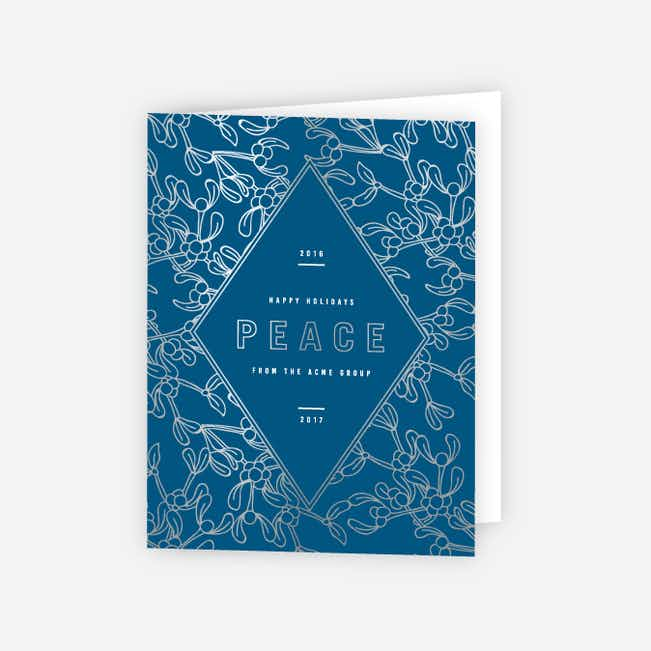 Modern Foil Diamond Corporate Holiday Cards - Blue