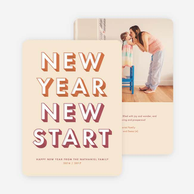 New Start New Year Cards - Red