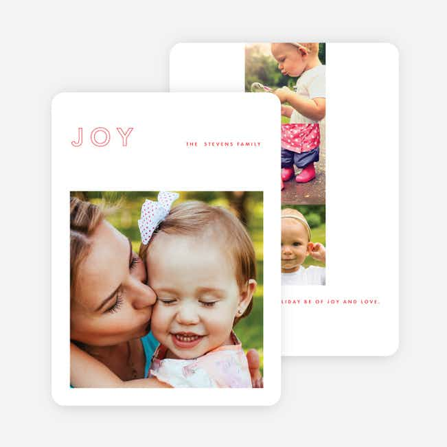 Outline Joy Holiday Cards - Red