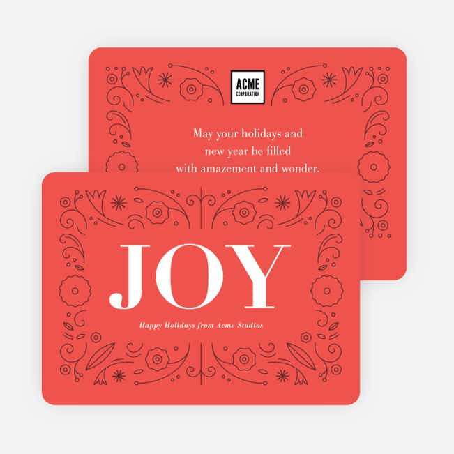 Simply Floral Corporate Holiday Cards - Red