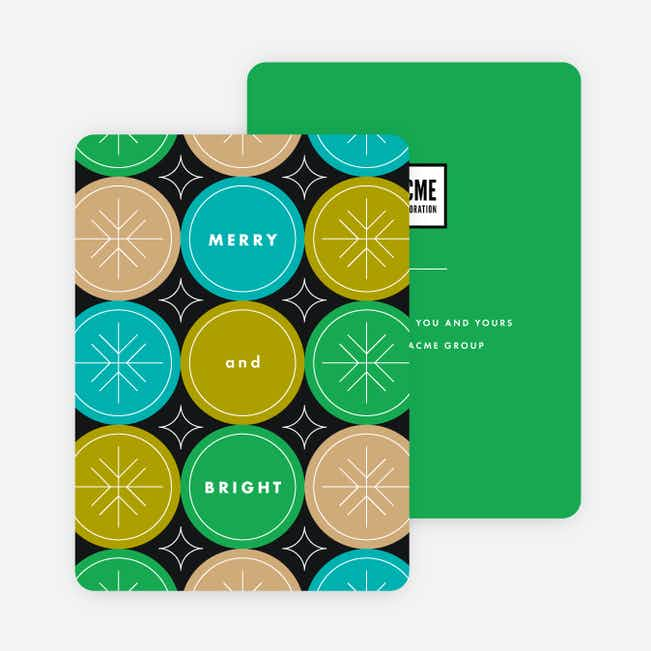 Snowflake Flurry Corporate Holiday Cards - Green