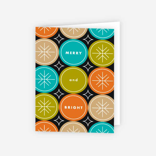 Snowflake Flurry Corporate Holiday Cards - Orange