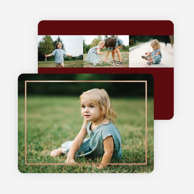Thin Foil Border Photo Holiday Cards - Red