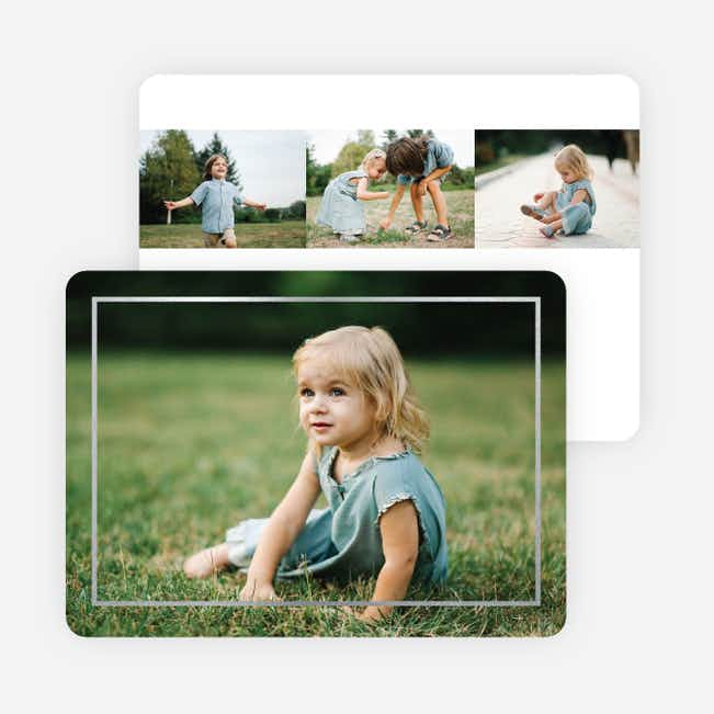 Thin Foil Border Photo Holiday Cards - Black