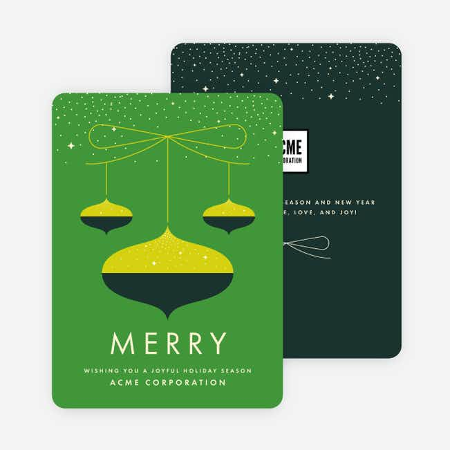 Vintage Season Corporate Holiday Cards - Green