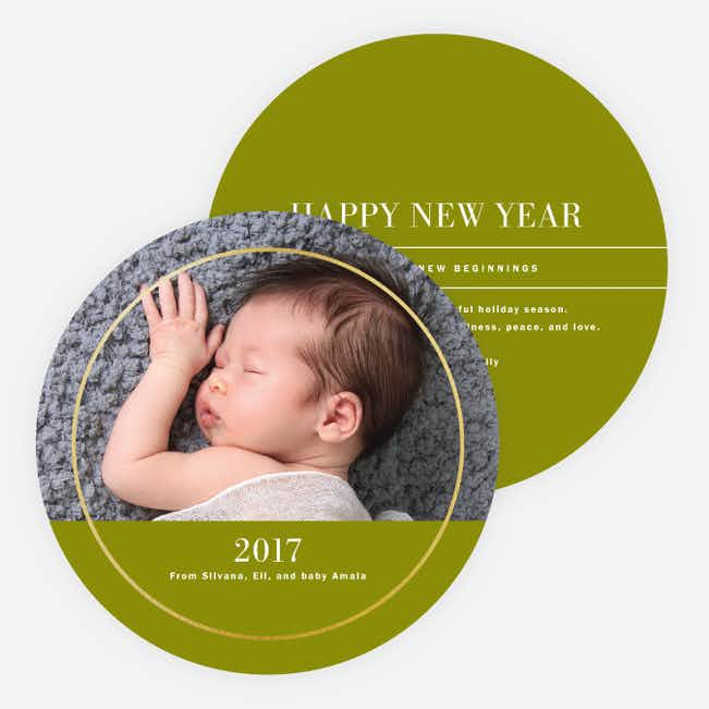 Foil Circle of Love Holiday Cards - Green
