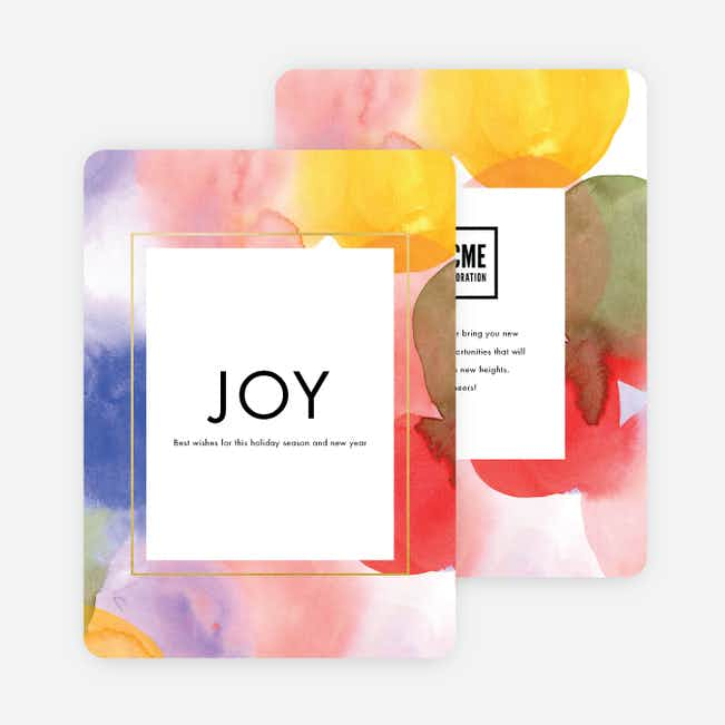 Watercolor Joy Corporate Holiday Cards - Multi