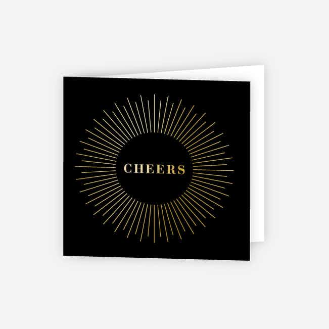 Foil Cheers Glow Corporate Holiday Cards - Black