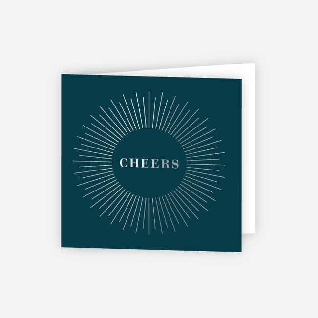 Foil Cheers Glow Corporate Holiday Cards - Blue
