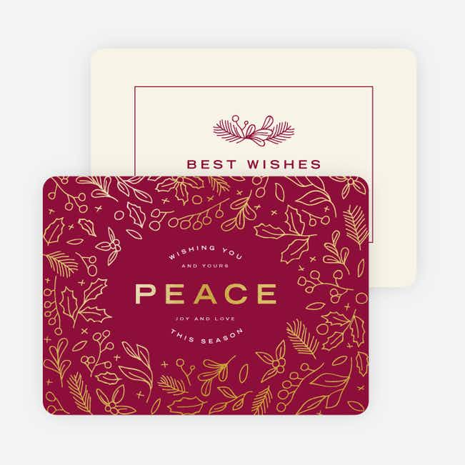 Foil Peace Motif Holiday Cards - Red