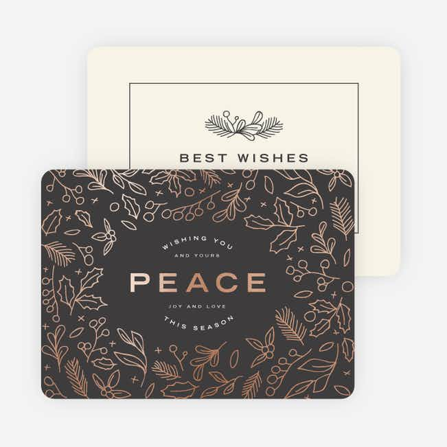 Foil Peace Motif Holiday Cards - Gray