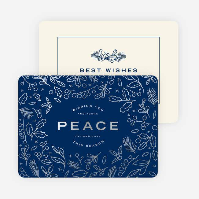 Foil Peace Motif Holiday Cards - Blue