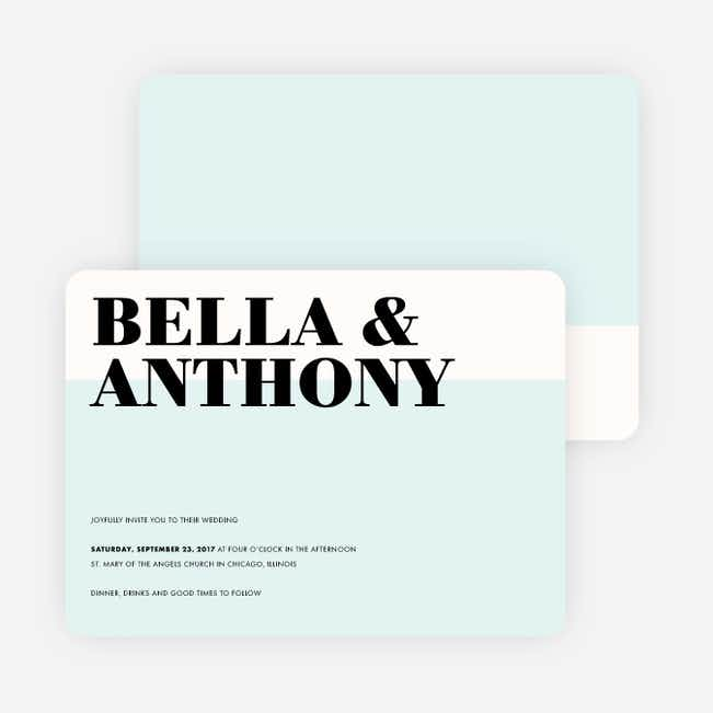 Boldly Typographic Wedding Invitations - Blue