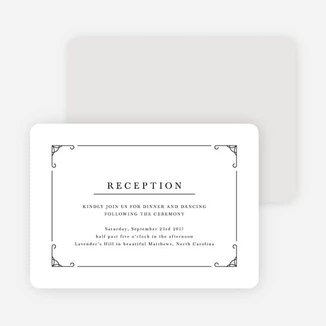 Chic Sophistique Wedding Reception Cards - Black