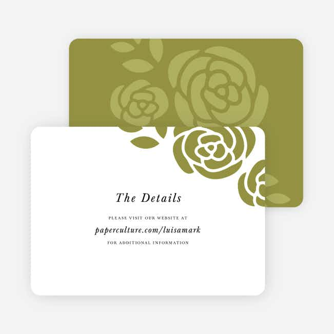 Coming Up Roses Wedding Direction Cards - Green