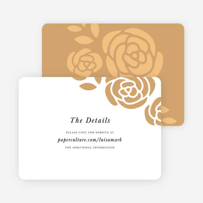 Coming Up Roses Wedding Direction Cards - Beige