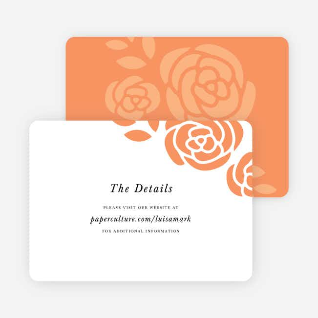 Coming Up Roses Wedding Direction Cards - Orange