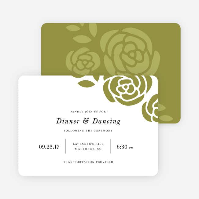 Coming Up Roses Wedding Reception Cards - Green
