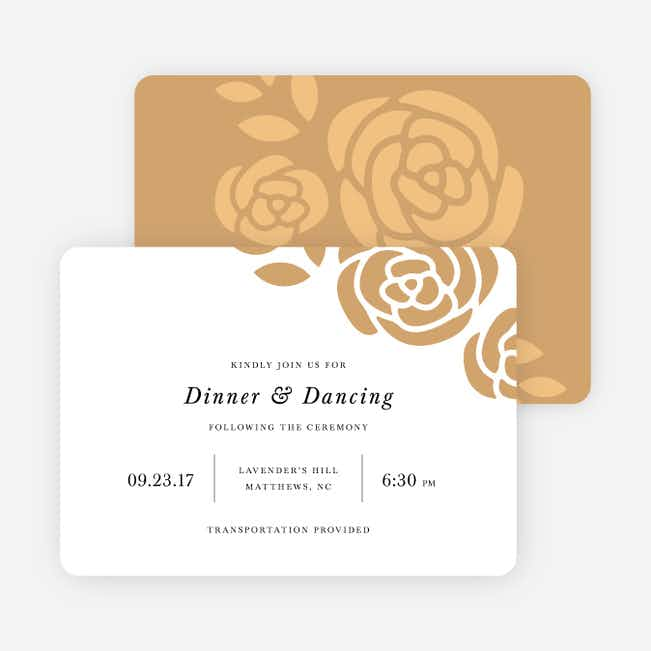 Coming Up Roses Wedding Reception Cards - Beige