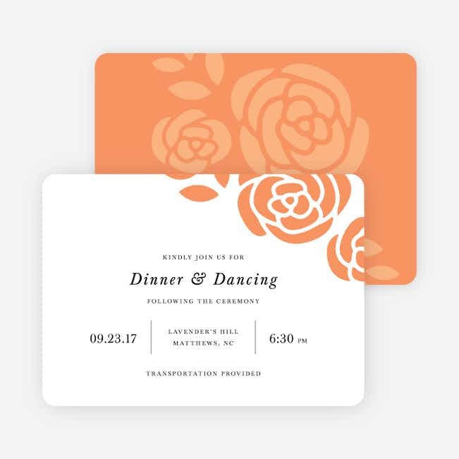 Coming Up Roses Wedding Reception Cards - Orange