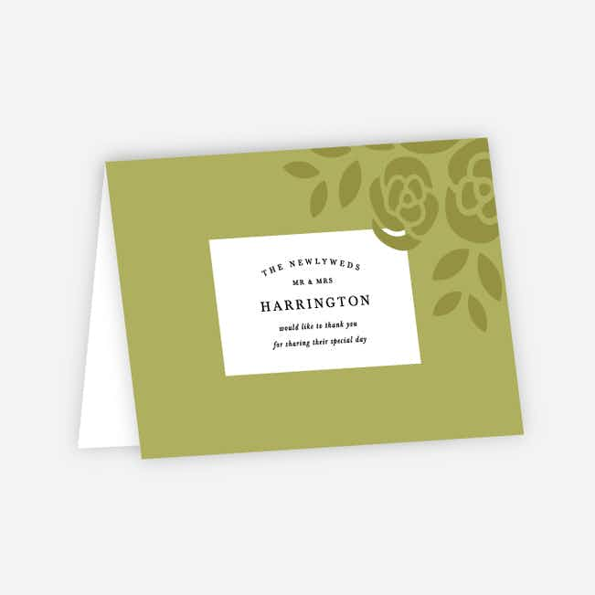 Coming Up Roses Wedding Thank You Cards - Green