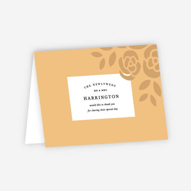 Coming Up Roses Wedding Thank You Cards - Beige