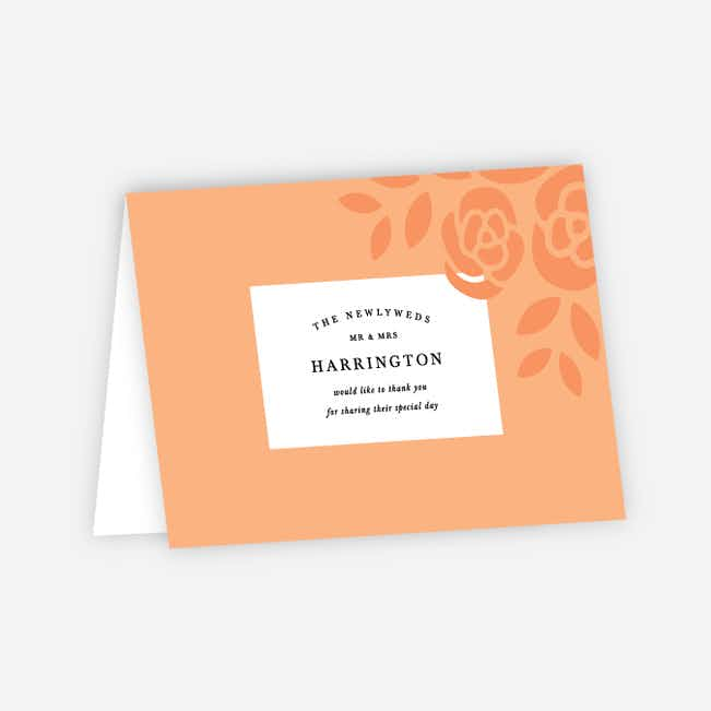 Coming Up Roses Wedding Thank You Cards - Orange