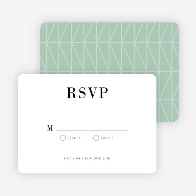 Converging Paths Wedding Response Cards - Green