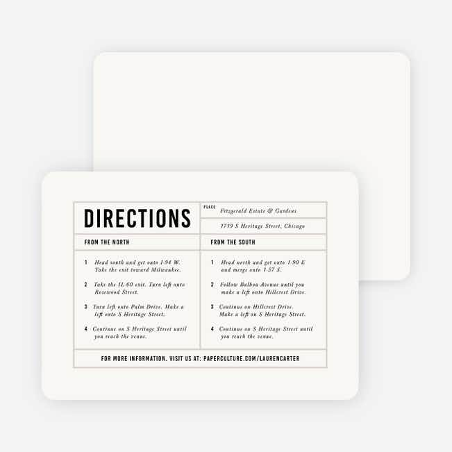 It's a Date Wedding Direction Cards - Beige
