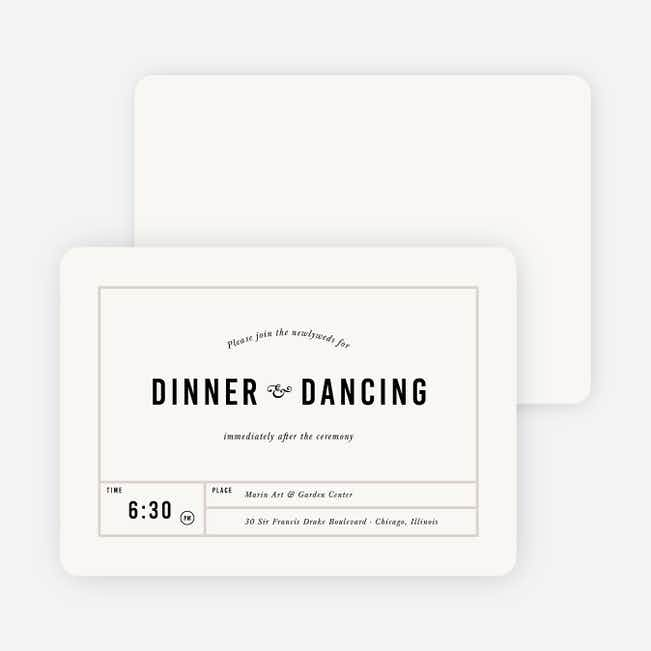 It's a Date Wedding Reception Cards - Beige