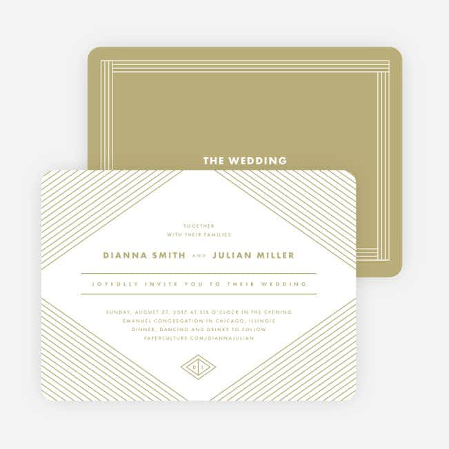 Diamond Chic Wedding Invitations - Beige
