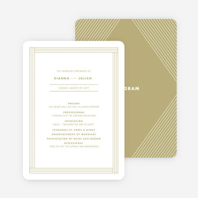 Diamond Wedding Programs - Beige
