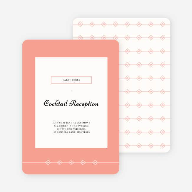 Diamonds in the Rough Wedding Reception Cards - Orange