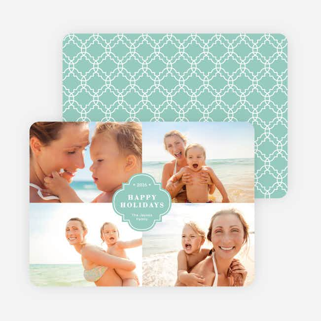 Family Crest Holiday Photo Cards - Green