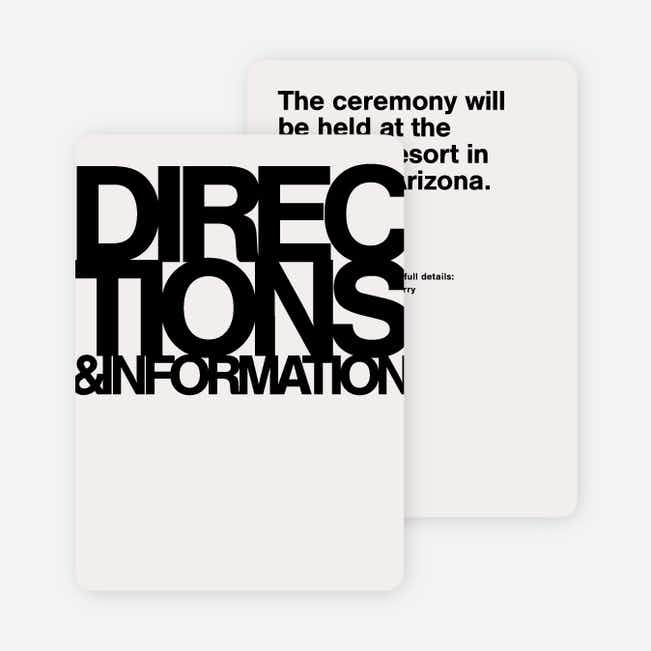 Fortune Favors the Bold Wedding Direction Cards - Black