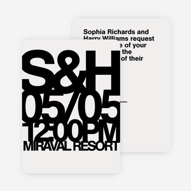 Fortune Favors the Bold Wedding Invitations - Black